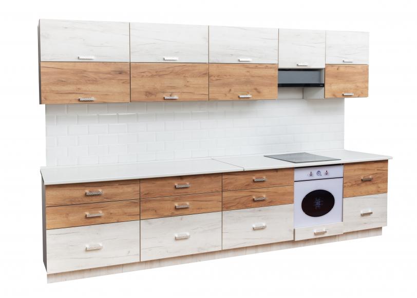 Кухонный гарнитур ДСП+ПВХ(дуб белый/дуб золотой)