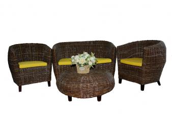 Комплект мебели из ротанга Гери 2+1+1 и столик кофейный