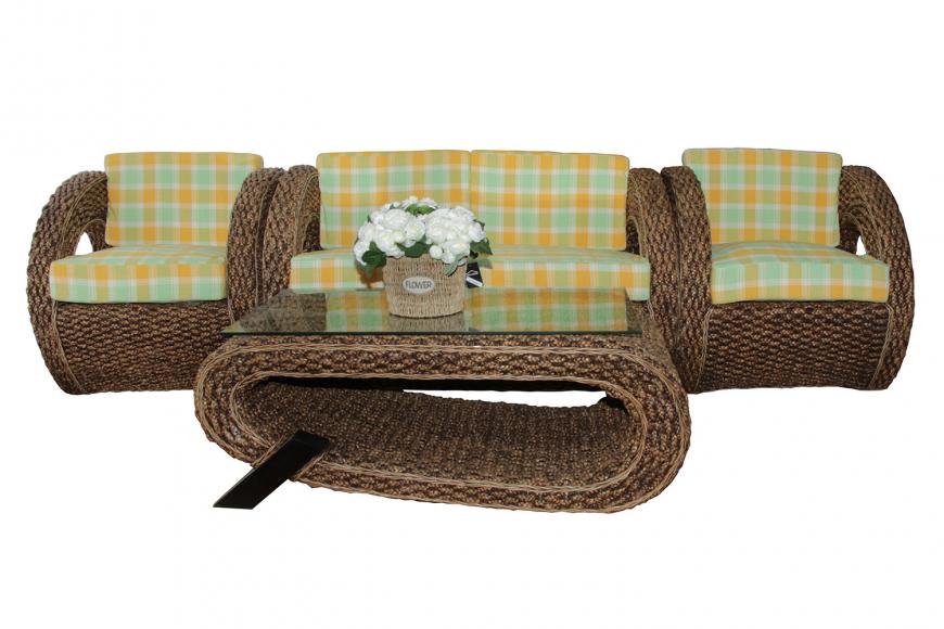 Комплект мебели из ротанга Кливинг  2 +1+1 и Столик кофейный (9119)
