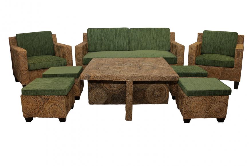Комплект мебели из ротанга Ерлина 2+1+1 и столик кофейный + 4 стульчика