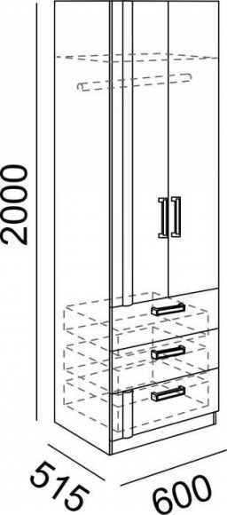 Шкаф с ящиками №4 Walker Рин. - 2