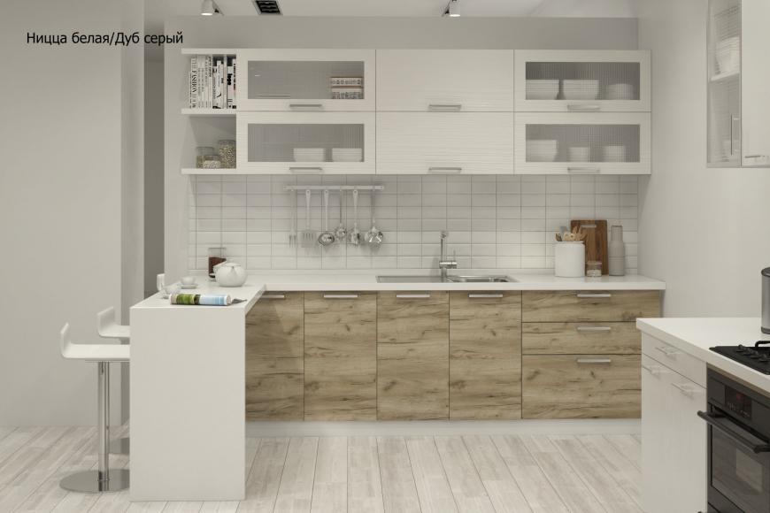 Кухня модерн прямая с барной стойкой - 6