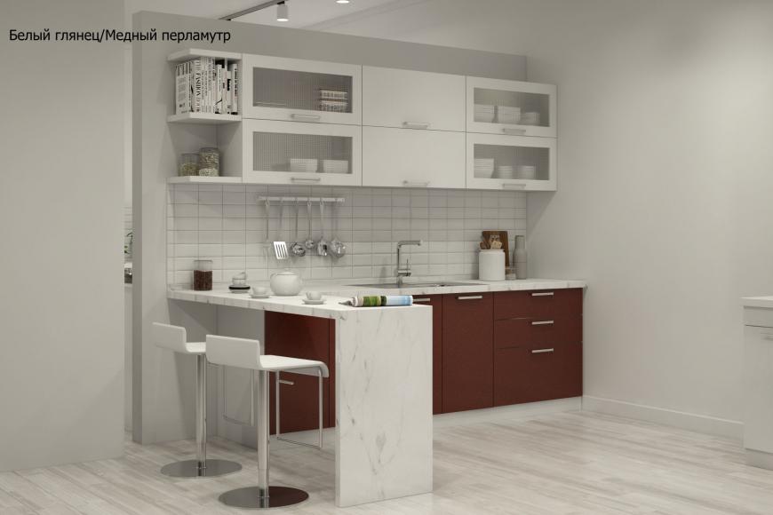 Кухня модерн прямая с барной стойкой - 5