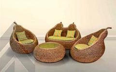 Комплект мебели из ротанга Пеар 2+1+1 и столик кофейный