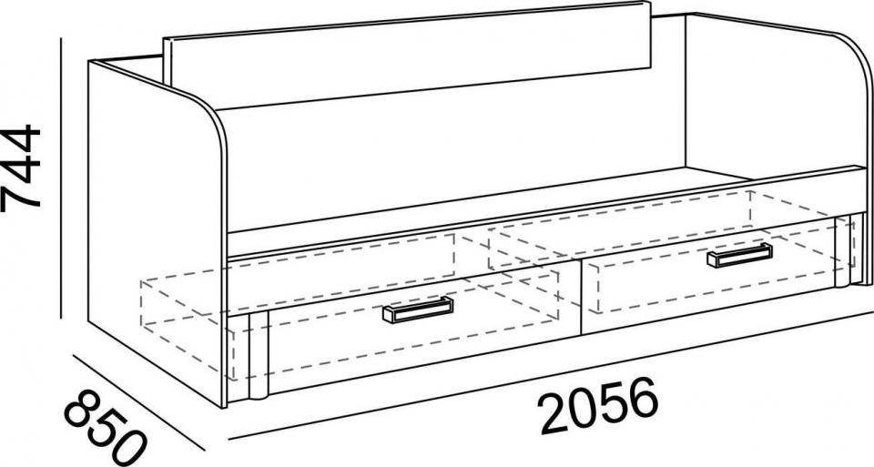"""Кровать 0,8  с ящиками М13 """"Walker"""" Рин. - 2"""