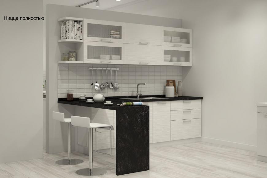 Кухня модерн прямая с барной стойкой - 8